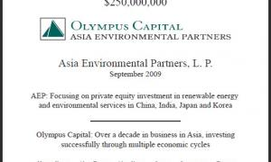 Olympus Capital Raises $250 Million for Asia Environmental Partners, LP